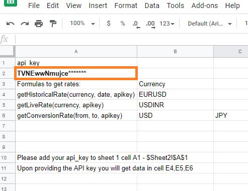 Forex data to google spread sheetr